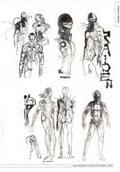 Unused concept art from Metal Gear Solid 4 of what looks to be Raiden, possibly as a cyborg, by Yoji Shinkawa