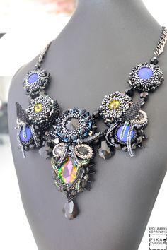 "Купить Колье по мотивам ""Скорпион"" - черный, знаки зодиака, колье скорпион, скорпион, Сваровски Bead Embroidery Jewelry, Beaded Embroidery, Beaded Jewelry, Beaded Necklaces, Handmade Necklaces, Handmade Jewelry, Beadwork Designs, Diy Crafts Jewelry, Necklace Designs"