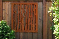 Outdoor art - lovely steel art panels - looks like birch trees Welding Projects, Crafty Projects, Amazing Gardens, Beautiful Gardens, Burglar Bars, Laser Cut Screens, Glass Garden Art, Steel Art, Outdoor Art