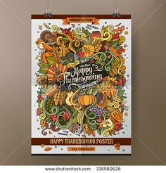 Doodles cartoon colorful Happy Thanksgiving hand drawn illustration. Vector template poster design