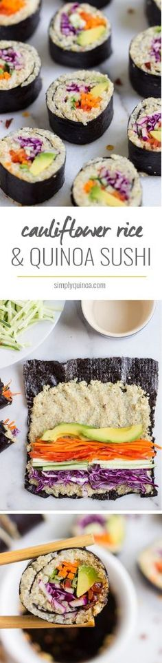 "Cauliflower ""Rice"" + Quinoa Sushi Paleo alternative sushi :D Remember to be creative with the fillings!"