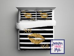 A personal favorite from my Etsy shop https://www.etsy.com/listing/262261024/gold-glitter-lips-bedding-black-and