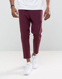 ASOS Tapered Cropped Pants In Wine - Purple