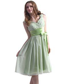 Sage green chiffon v-neck knee length bridesmaid dress with bow detail sku Grad Dresses Short, Knee Length Bridesmaid Dresses, Short Lace Dress, A Line Cocktail Dress, Dress With Bow, Lace Shorts, Chiffon, Fashion Outfits, Sage