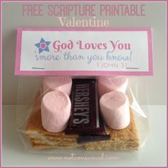 Free Scripture Printable S'MORES Valentine. You could use heart shaped marshmallows, too!