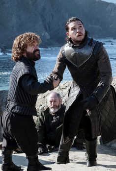 Jon, Tyrion & Davos looking in awe at Dany's dragons. Game of Thrones (7x3)