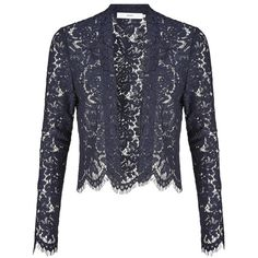 John Lewis Lace Jacket, Navy (8660 RSD) ❤ liked on Polyvore featuring outerwear, jackets, navy, john lewis, navy blue jacket, navy jacket, flower print jacket and cropped jacket