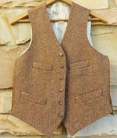 STUNNING Polo Ralph Lauren Corneliani Brown Herringbone TWEED Wool Vest 38 ITALY #PoloRalphLauren
