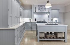 This stunning light blue kitchen features state of the art appliances. Both the cabinetry and beautiful island are painted in our very own Iris. Light Blue Kitchens, Grey Kitchens, Bespoke Kitchens, Blue Kitchen Cabinets, Kitchen Dresser, Kitchen Decor, Kitchen Ideas, Kitchen Drawers, Kitchen Images