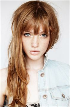 This looks kinda like my new hair color and bangs! Hair Day, New Hair, Coiffure Hair, Great Hair, Awesome Hair, About Hair, Gorgeous Hair, Beautiful Freckles, Beautiful Redhead