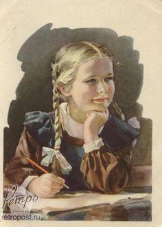Открытка 1 сентября, Школьница на уроке, Годына С., 1955 г. School Days, Mona Lisa, School