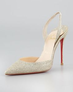 Ever Glitter Slingback Red Sole Pump, Platine by Christian Louboutin at Neiman Marcus. I SOOOOOO want this to be my weeding shoe!!!