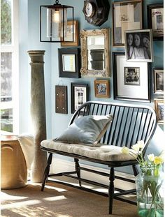 eclectic on a lovely (Buxton Blue) soft blue wall