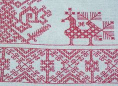 Karjalan kirjonta Beaded Embroidery, Cross Stitch Embroidery, Embroidery Designs, Diy Tulle Skirt, Scandinavian Embroidery, Old Symbols, Embroidery Techniques, Cross Stitch Charts, Handicraft