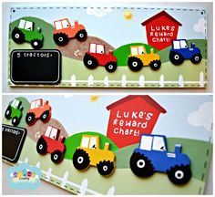 The tractors are stuck on the reward chart with velcro. When a child has done a good deed (such as help wash the pots or tidy their room,) they receive a tractor to stick on the chart. After collecting all five, they win the reward stated on the blackboard. © Copyright by Craftly 2014 #rewardchart #behaviour #kids #children #tractors