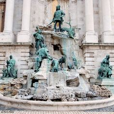 The Matthias Fountain-Budapest, Hungary.  Part of the Buda Castle this fountain is truly a work of art.