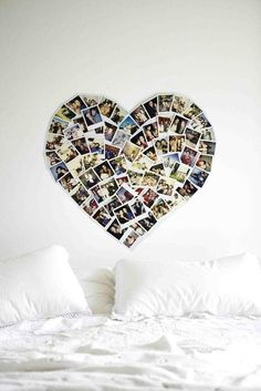 Polaroid heart wall art, photo walls, photo displays, heart shapes, picture collages, dorm rooms, colleg, bedroom, photo collages