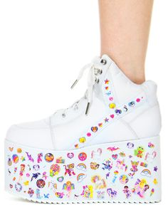 How cute are these Lisa Frank stickered YRU QOZMO HI PLATFORM SNEAKERS! Get them now at shopjeen.com