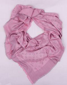 Платок-палантин Louis Vuitton широкий (шелк + шерсть + металлический люрекс) цвет нежно-розовый
