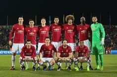 Players of Manchester United pose for a team photo prior to the UEFA Europa League Round of 16 first leg match between FC Rostov and Manchester. Manchester United Team, Professional Football, Old Trafford, Europa League, Team Photos, A Team, Christmas Sweaters, The Unit, Soccer