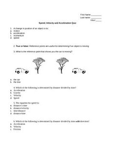 Speed and Velocity Review Worksheet | High school courses ...