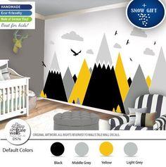 Brimstone Yellow Mountain Wall Decal for Nursery Kids Room. Kids Wall Decals, Nursery Wall Decals, Nursery Room, Kids Bedroom, Sticker Mural, Baby Room Design, Baby Room Decor, Baby Boy Rooms, Baby Boy Nurseries