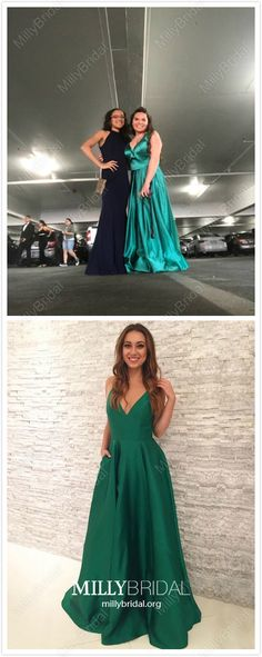 Jade Formal Dresses Long Prom Dresses with Pockets, A-line Military Ball Dresses V-neck, Satin Wedding Party Dresses Elegant Prom Dresses Long Modest, Green Formal Dresses, Unique Formal Dresses, Formal Dresses Online, Prom Dresses With Pockets, A Line Prom Dresses, Cheap Prom Dresses, Formal Evening Dresses, Wedding Party Dresses