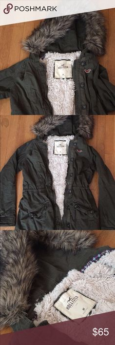Winter Jacket! It's a dark green jacket with fur on the inside and on the hood. Great condition!! Hollister Jackets & Coats Utility Jackets