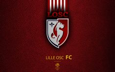 Download wallpapers Lille OSC, FC, 4K, French Football Club, Ligue 1, leather texture, logo, emblem, Lille, France, football