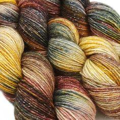 glitter sock yarn BANSHEE hand dyed sw merino by lanitiumexmachina, $22.00