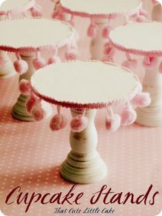 DIY Cupcake stands : take dollar store wooden candleholders, paint them and glue on pom pom trim. Make them in holiday colours, or in metallics for a more formal look!