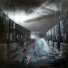 I adore bob barker's dark yet beautiful portraits of working class community Welsh Cottage, Irish Painters, Surface Art, Yorkshire Uk, Living In England, Urban Life, Cubism, Bucky Barnes, Urban Landscape