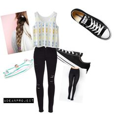 Last day of school by twochainzfoever on Polyvore featuring polyvore fashion style Chicwish Frame Denim Converse Domo Beads