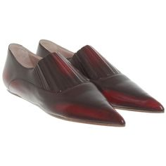 Pre-owned Loafers in burgundy (390 BAM) ❤ liked on Polyvore featuring shoes, loafers, bordeaux, genuine leather shoes, leather loafer shoes, burgundy shoes, vivienne westwood loafers and burgundy leather shoes