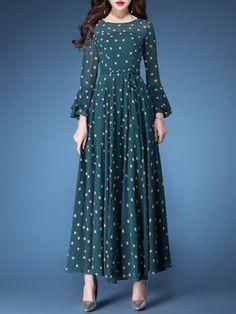 Dark Green Vintage Polka Dots A-line Frill SleeveMaxi Dress