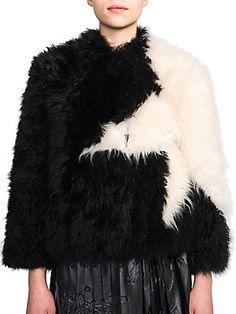 MSGM Star-Pattern Fur Jacket