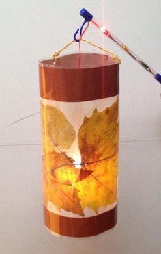 Lampion met herfstbladeren  Lamineren  1 uur werk?