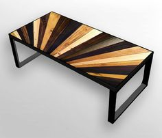 Stained Sunburst Reclaimed Wood Coffee Table or Desk - Wood Art by ScrapWoodDesign on Etsy https://www.etsy.com/listing/177631912/stained-sunburst-reclaimed-wood-coffee