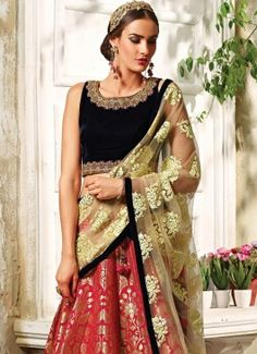 Aristocratic Red A Line Lehenga Choli #lehengacholi  #indian #trendy #red #bridal#bollewood #party wear #traditional#online #mangosurat#style #boutiques #shopping #fashion #modal #social #branding #sales #marketing #business #discount #deal #success #ethnic #creation #embroidery #classic #cloth #clothing