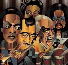 Homage to jazz greats: Miles Davis, Django Reinhardt, Ella Fitzgerald, Art Blakey, Kenny Dixon Jr.