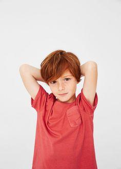 Camiseta bolsillo contraste - Niños | MANGO Kids España