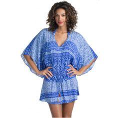 "Vix ""Carioca"" Tunic - Summer 2014 Collection #aquabeachwear #vix #paulahermanny #designer #swimwear #swimsuits #swim2014 #vix2014 #springbreak #summer #cruise #cruise2014 #spring2014 #summer2014 #vacation #destination #beach #beachwear #resort #resortwear #scottsdale #arizona #florida #brazil #brazilian #gold #custommade #carioca #tunic #blue #caftan #beaddetail #dropwaist #coverup"