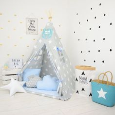 teepee set kids play tent tipi playhouse wigwam zelt tente kids lamp reading spot blue hero