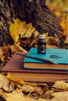 old books, fall leaves, and a quill pen and ink bottle