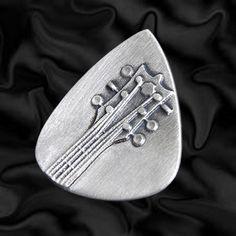 Embossed Head Stock Silver Plectrum | Embossed Silver Guitar Plectrums | Precious Plectrums