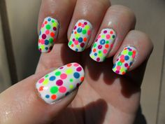 OPI Alpine Snow base, with dots of many colors!  These were done for my daughter's birthday.