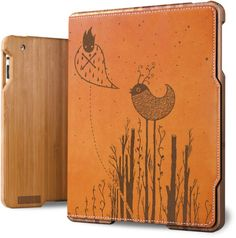 iPad Case ( Bamboo & Leather ) - Birdland - Tan