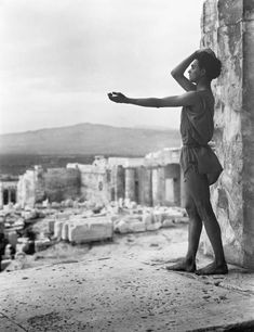 """Alexandrian Greek dancer Alexander Iolas poses on the Athenian Acropolis like reaching out to the past of Hellas ca. photograph by Nelly's. Ancient Greek Religion, Pin Up, Greek Culture, Triple Goddess, Ancient Greece, Popular Culture, Old Photos, Mythology, The Past"