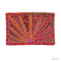 Satin Sunrise Coin Purse  Plug the parking meter in style with this vibrant sunrise pattern coin purse. Tiny pink seed beads and orange satin backing add a touch of luxury. Satin interior lining, zipper closure. 5 1/4in. l x 3 1/2in. W Made in India $14
