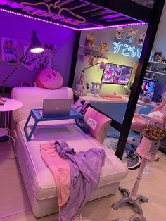 Room Design Bedroom, Room Ideas Bedroom, Small Room Bedroom, Cute Room Ideas, Cute Room Decor, Gaming Room Setup, Computer Gaming Room, Gaming Rooms, Chambre Indie